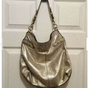Coach Purse Gold Sheen Colette Leather Hobo